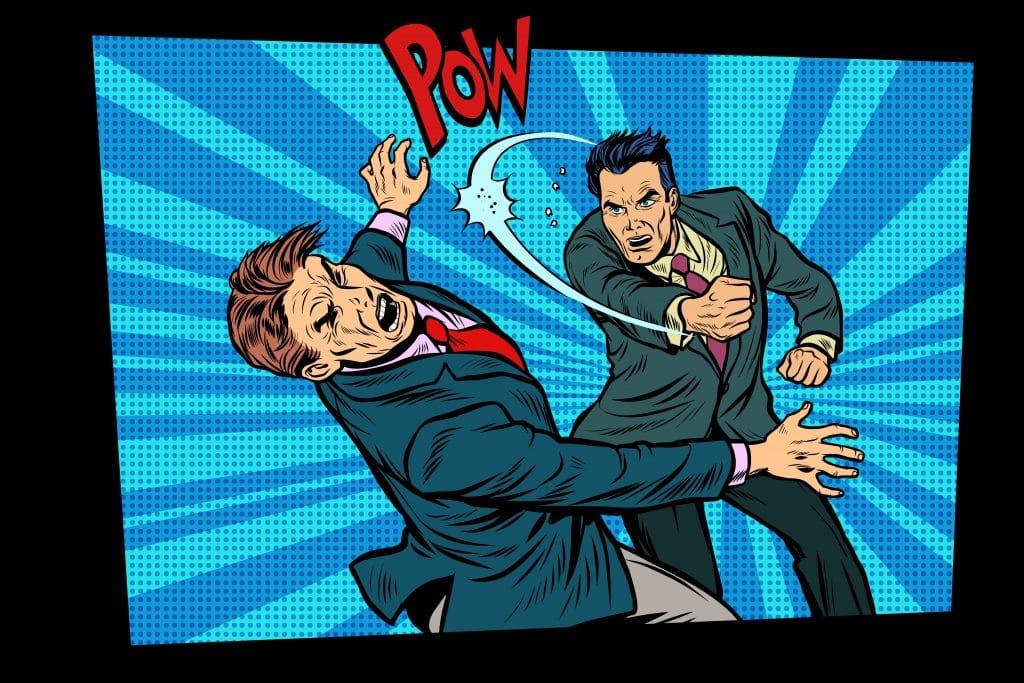 Imagem clássica das histórias em quadrinhos em estilo retrô: dois homens vestidos de terno sendo que um deles está dando um soco na cara do outro. Ao fundo a palavra POW escrita em vermelho.