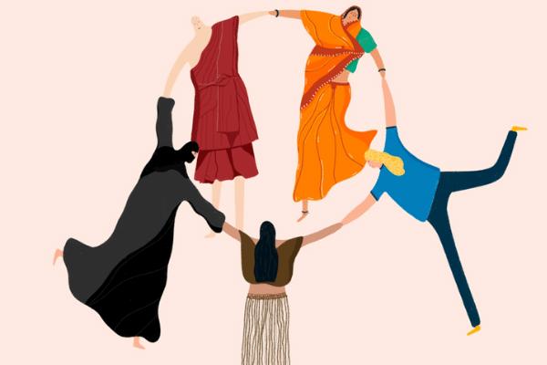 Ilustração de pessoas de diferentes religiões com adereços tradicionais de mãos dadas em círculo.