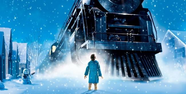 Pôster do filme O Expresso Polar, com o protagonista em frente ao trem, sob a neve.
