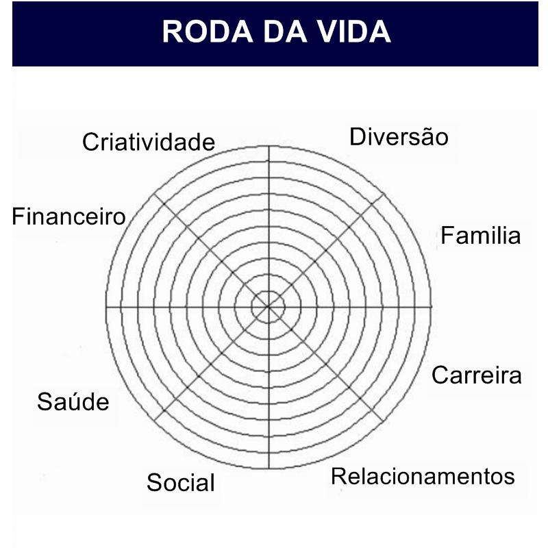 Representação gráfica da Roda da Vida, com os setores da Criatividade, Família, Diversão, Carreira, Relacionamentos. Social, Saúde e Financeiro a compondo.