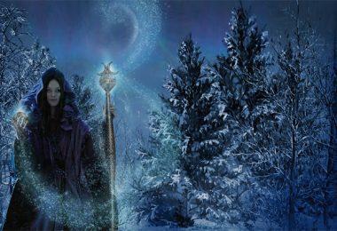 Ilustração de mulher no inverno;