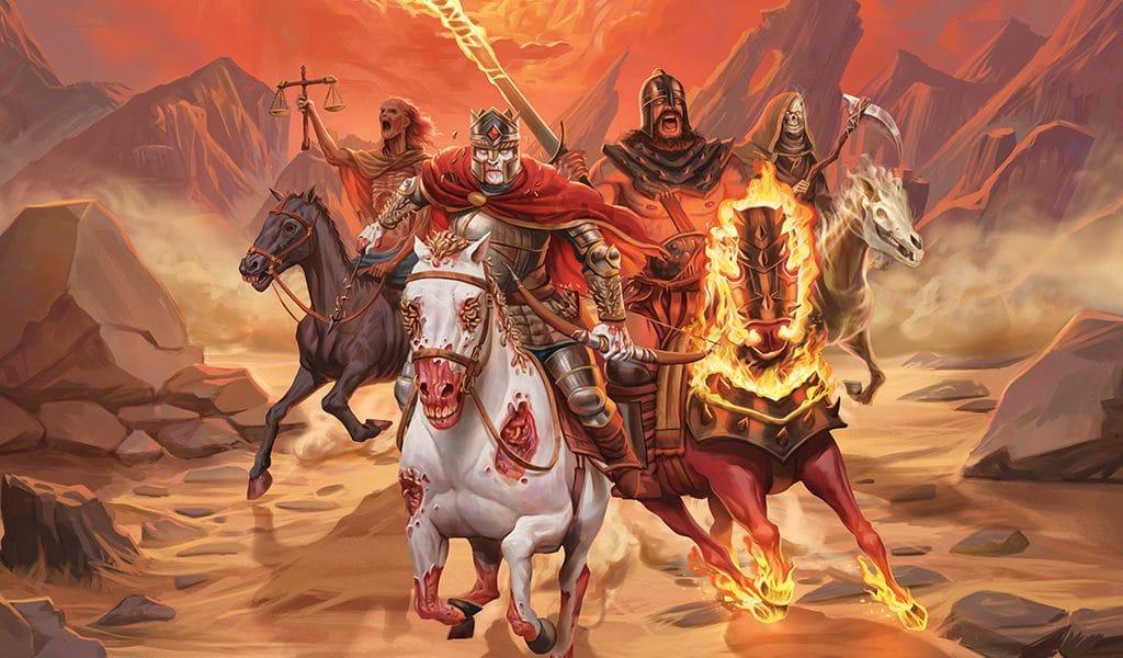 Representação dos quatro Cavaleiros do Apocalipse correndo na mesma direção, em um cenário de fogo e destruição.