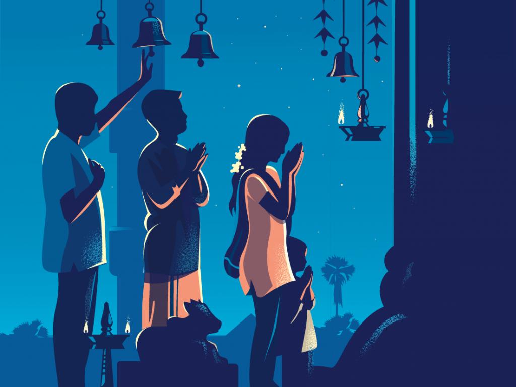 Ilustração de três pessoas orando, à noite, em meio a velas e sinos.