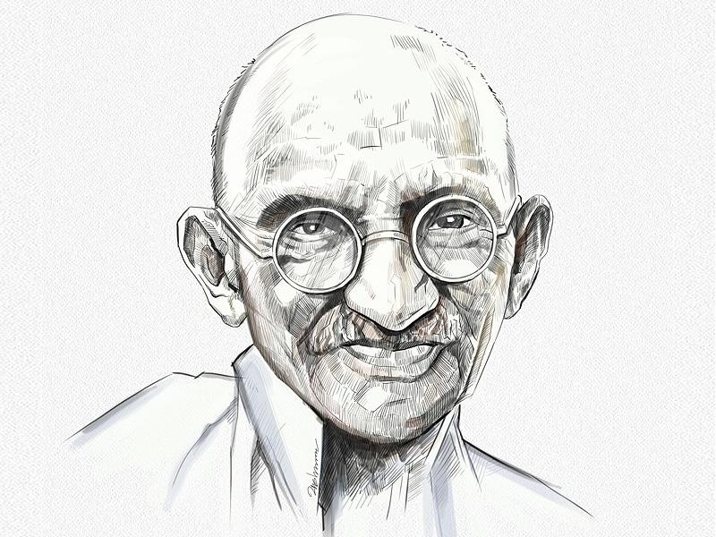 Ilustração em preto e branco do rosto de Mahatma Gandhi.