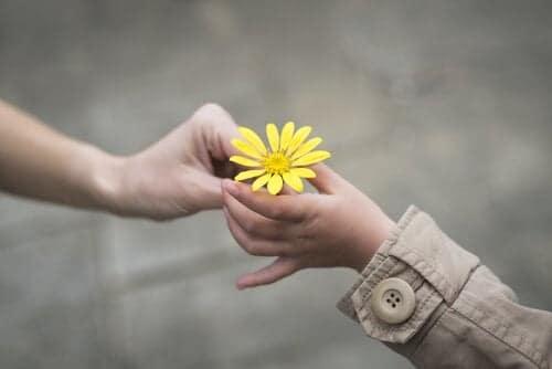 Pessoa entregando uma flor amarela a uma criança.