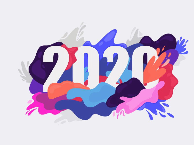 Ilustração dos números 2020 entre manchas coloridas.
