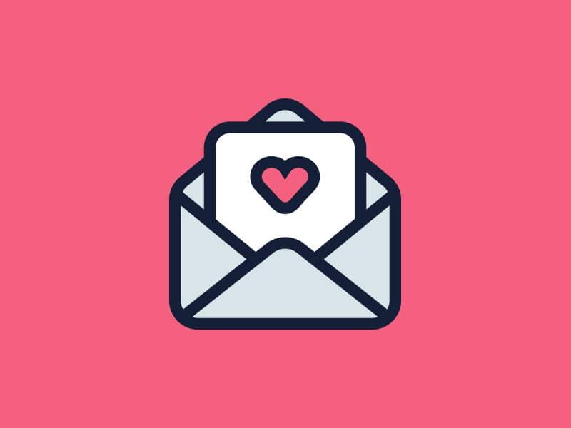Ilustração de uma carta de amor.