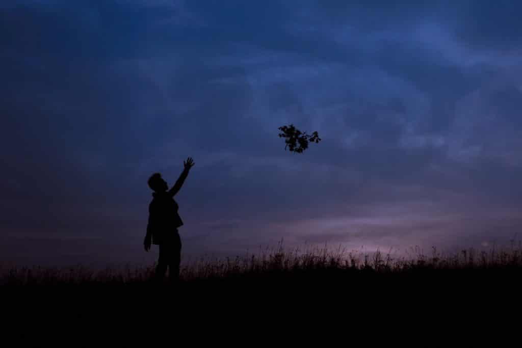 Silhueta de pessoa com o braço esticado em direção a uma folha que voa para longe.