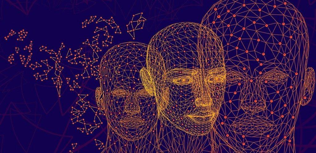 Imagens virtuais em pontilhismo de três cabeças humanas, e constelações.