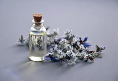 Óleo essencial dentro de garrafinha pequena, fechada com uma rolha. Ao lado, uma flor roxa.
