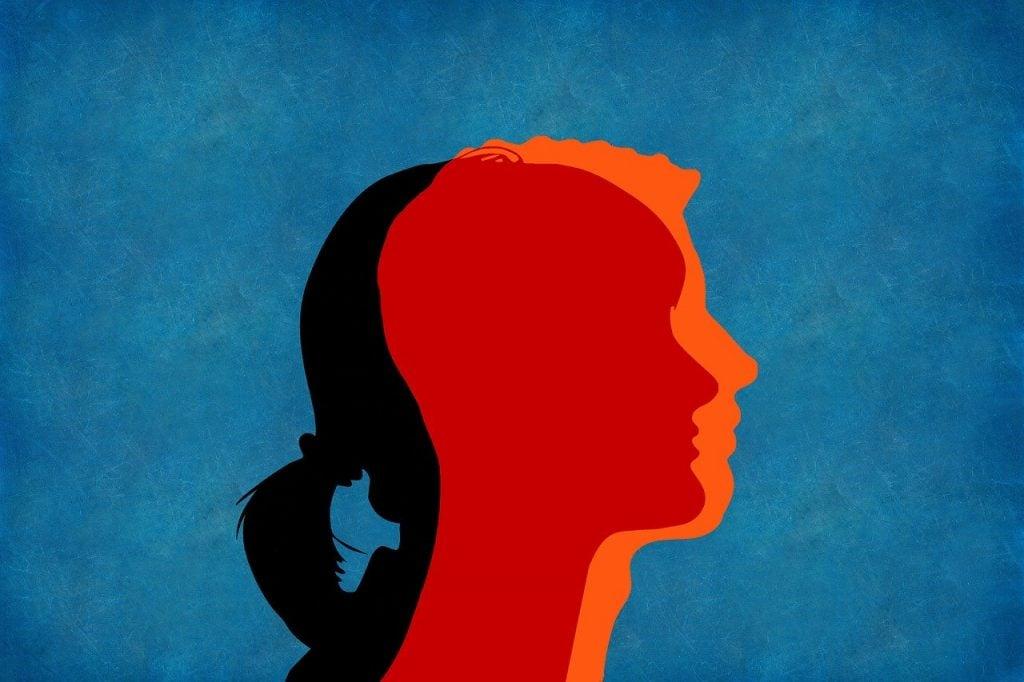Ilustração representando uma mulher e um homem de perfil, um sobre o outro.