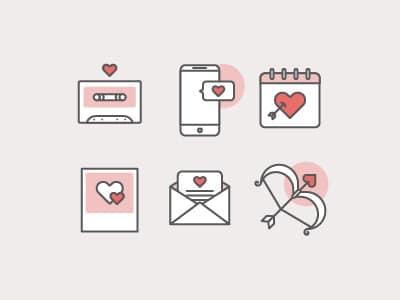 Ilustração representando formas de demonstrar amor, como cartas, fotos, músicas e mensagens.