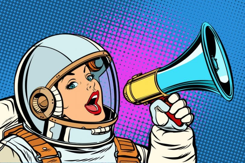 Ilustração de astronauta segurando megafone.