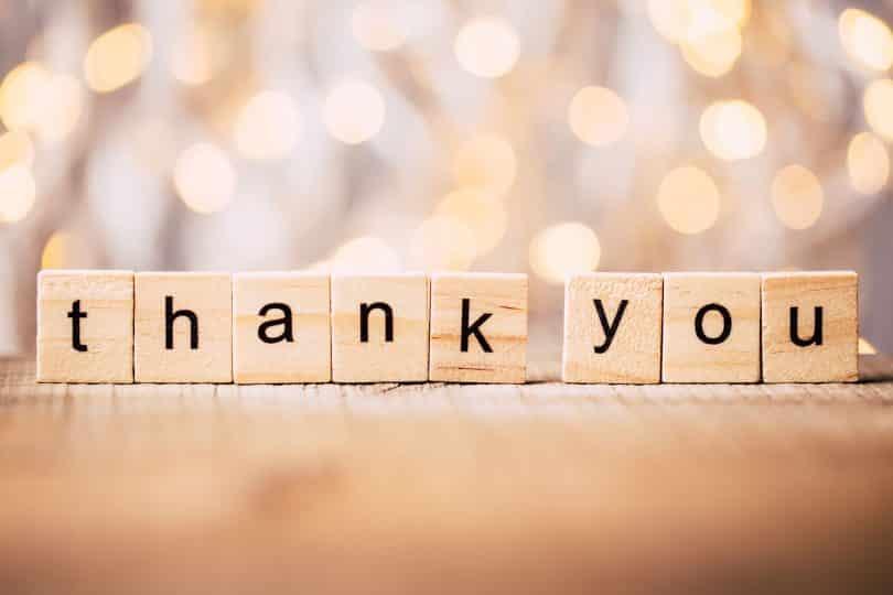 """Pequenos blocos de madeira formando a palavra """"thank you""""."""