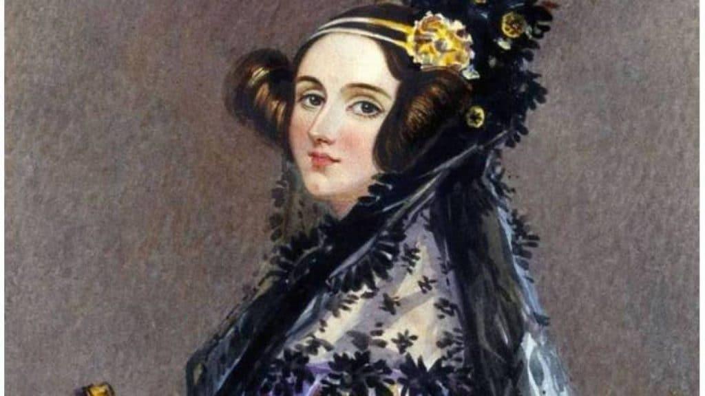 Pintura de Ada Lovelace (1815 - 1852), de perfil, em óleo sobre tela.