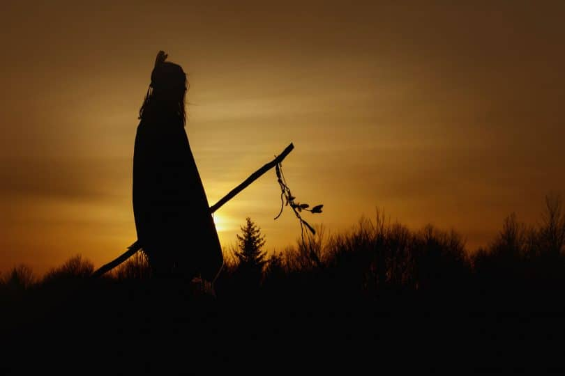 Silhueta de índia, segurando um pedaço de madeira com folhas penduradas. Ao fundo, montanhas e o pôr do sol.