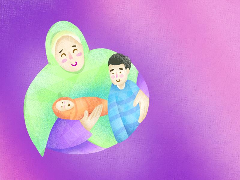 Ilustração de uma mãe muçulmana carregando seus dois filhos no colo.