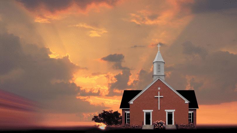Imagem de uma igreja no meio do campo