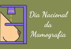 Ilustração de Raio-X da mama com escrito Dia Nacional da Mamografia
