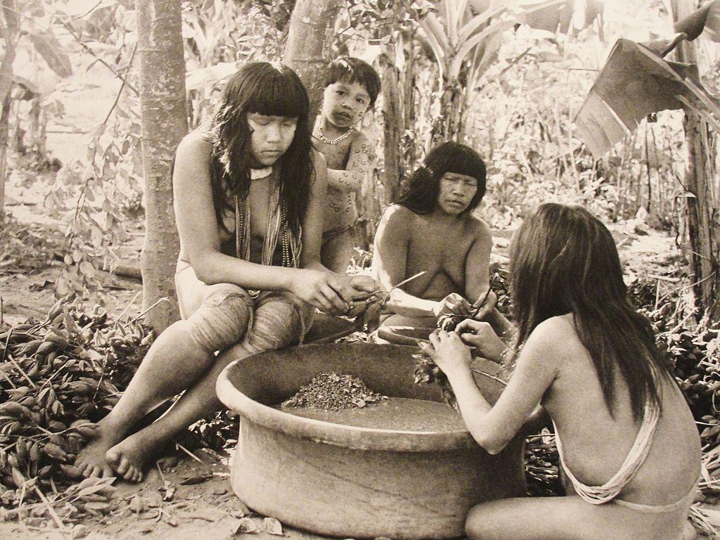 Três mulheres da aldeia xinguana Kuikuro cuidando do preparo dos alimentos, tirando frutos de galhos e depositando em uma tigela grande. Um menino pequeno está atrás de uma das mulheres e olhando para a câmera.