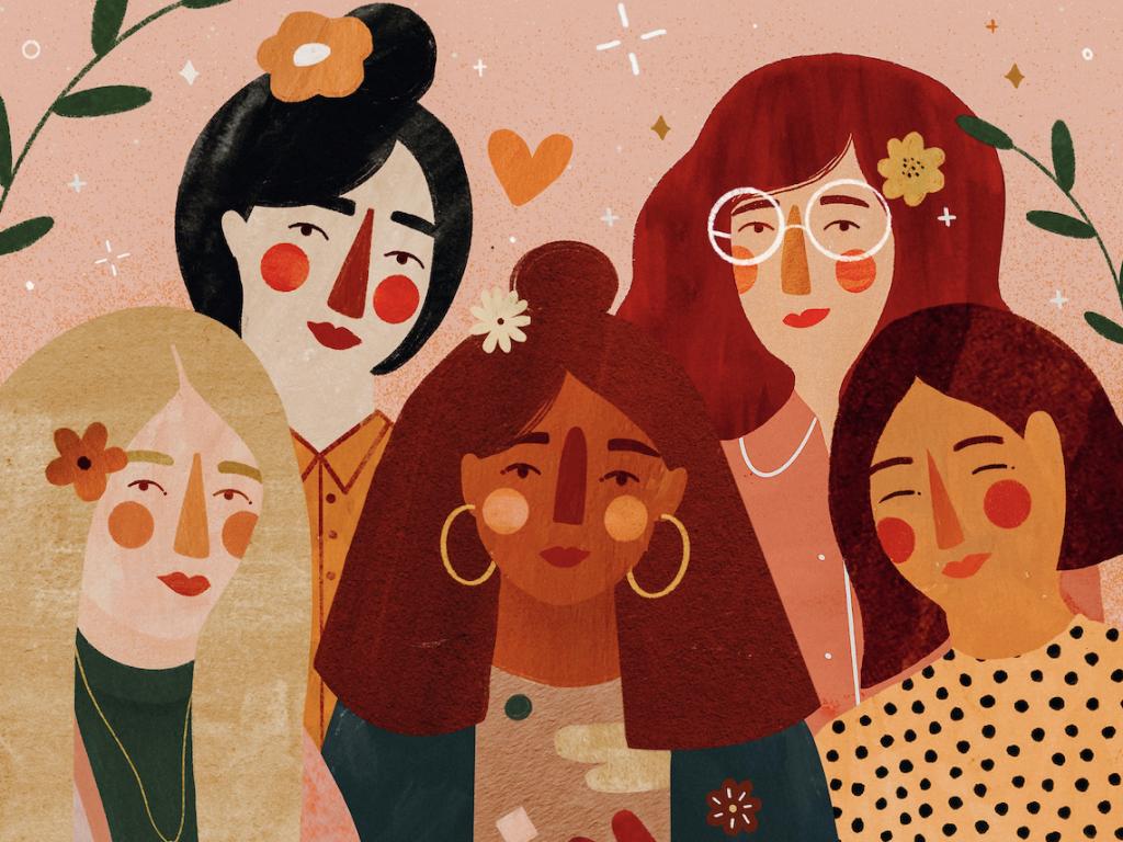 Ilustração de mulheres de diferentes etnias juntas.
