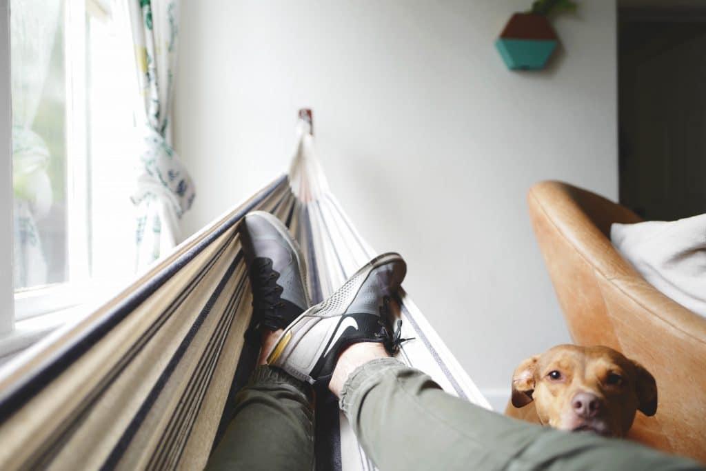 Homem deitado na rede com seu cachorro ao lado no chão olhando para frente