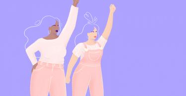 Ilustração de duas mulheres, de perfil, caminhando com um dos braços esticados para cima, de punhos fechados.