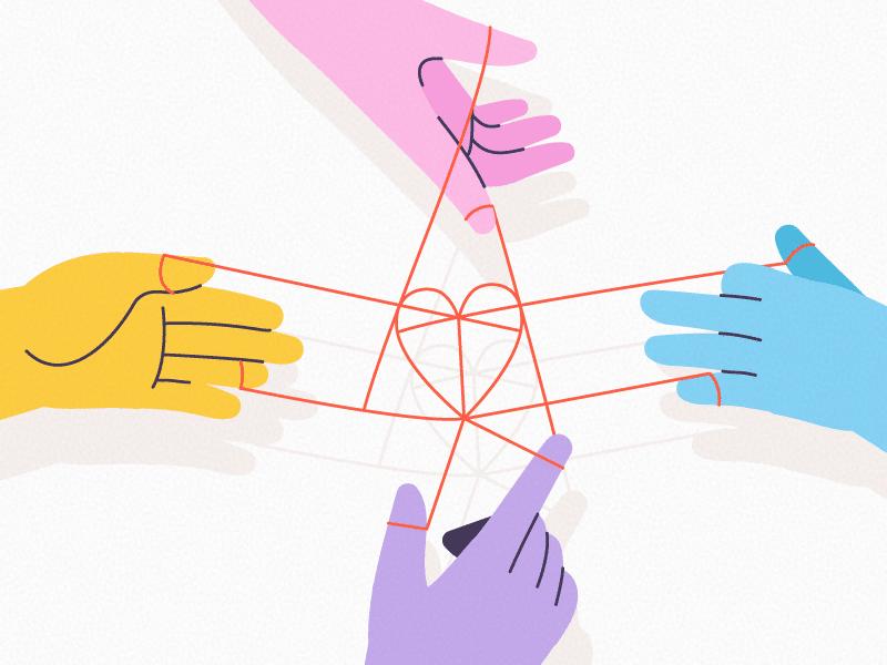 Quatro mãos segurando linhas que se enroscam formando um coração.