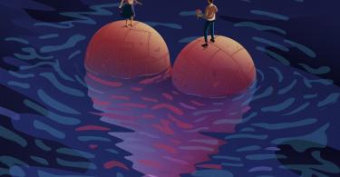 Ilustração de um homem tentando entregar flores para uma mulher, enquanto ambos se equilibram sobre em um coração gigante sobre a água.