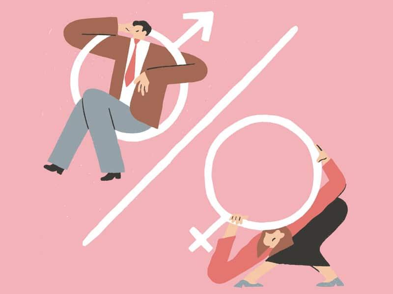 Ilustração de um homem pendurado em um símbolo masculino, enquanto uma mulher é esmagada pelo símbolo feminino.