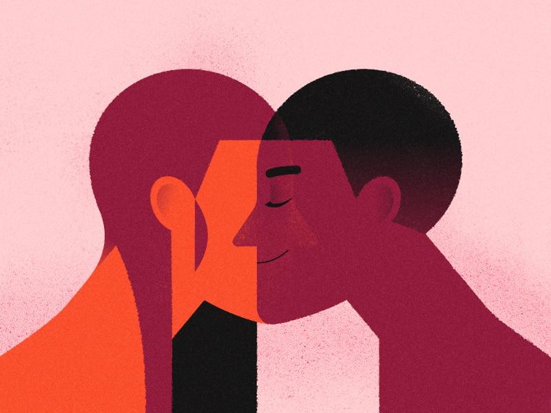 Ilustração de um casal de perfil, com os rostos encostados virados um para o outro, formando um coração.