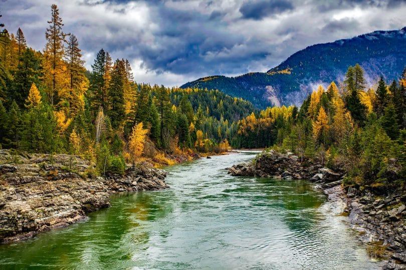 Rio entre árvores e montanhas