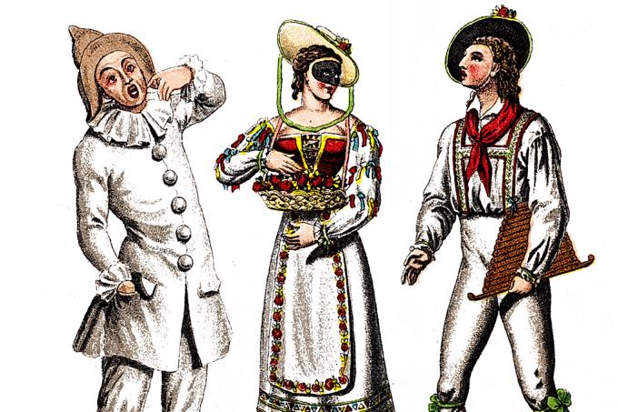 Ilustração de Pierro, Colombiana e Arlequim.