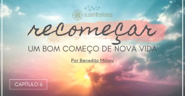 """Capa do livro """"Recomeçar... Um bom começo de nova vida"""", com o título escrito sobre um céu ao nascer do sol."""