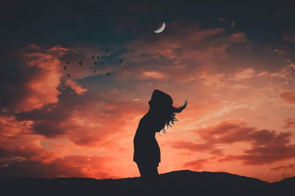 Silhueta de mulher com as mãos sobre a cabeça, à frente do pôr do sol e abaixo de uma lua crescente com pássaros voando.