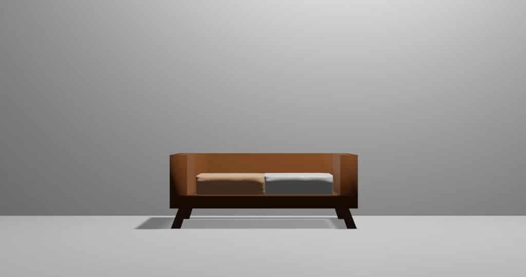 Parede cinza e ao fundo um sofá de madeira com dois lugares.