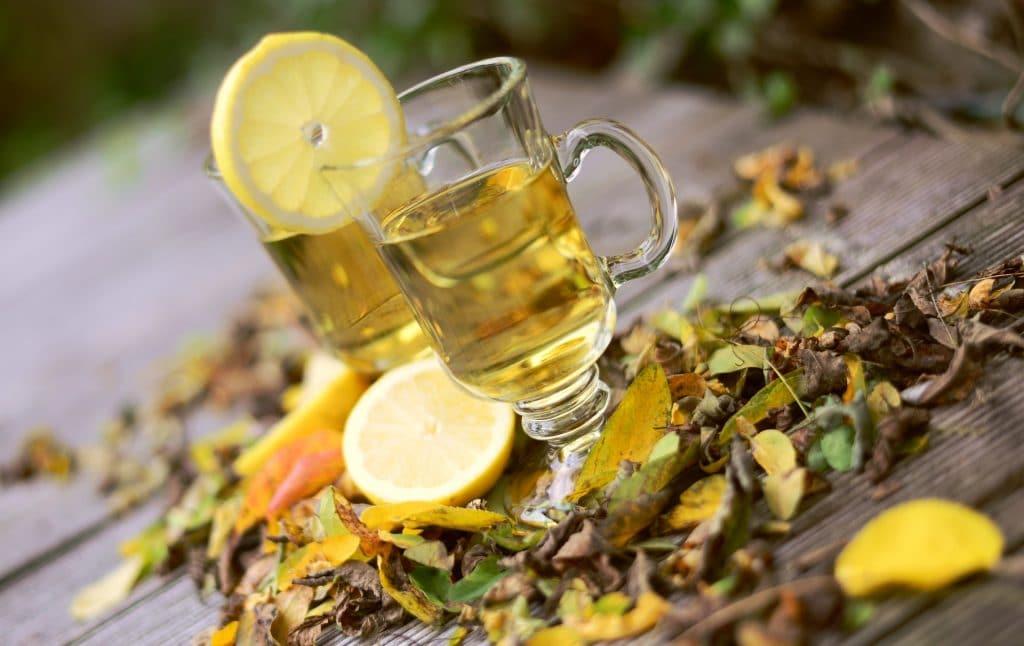 Chá de limão servido em um copo de vidro decorado com uma rodela de limão. O copo está sobre uma mesa de madeira decorada com folhas secas.
