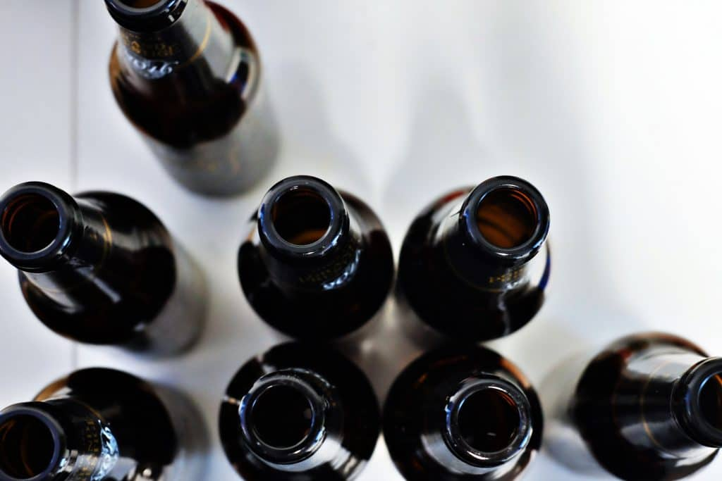 Garras de cerveja vista de cima