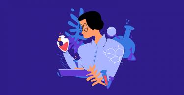 Ilustração de uma mulher cientista, segurando tubos de ensaio e pranchetas.