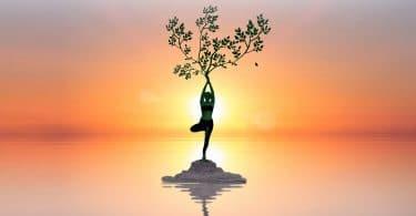 Ilustração de uma mulher em pé, com as mãos para cima, em frente a uma árvore , sob o pôr do sol.