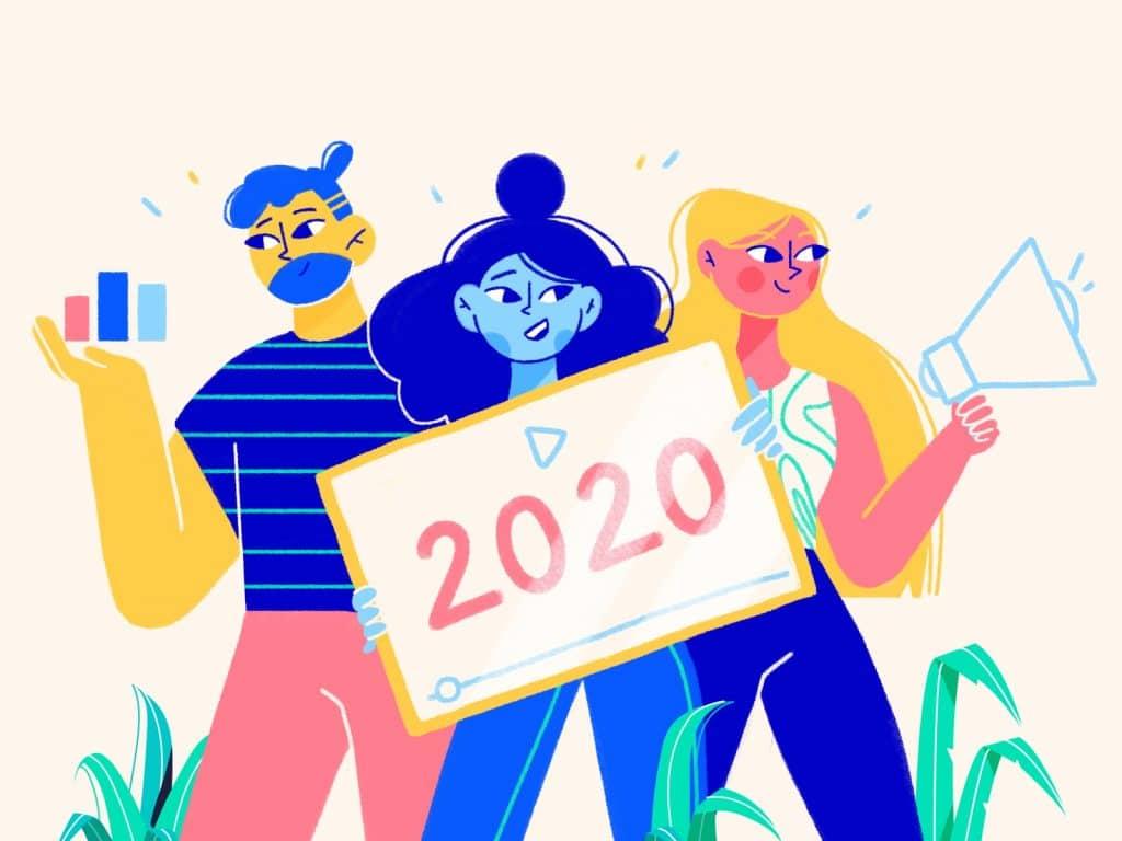 """Ilustração de três pessoas segurando uma placa com os escritos """"2020""""."""
