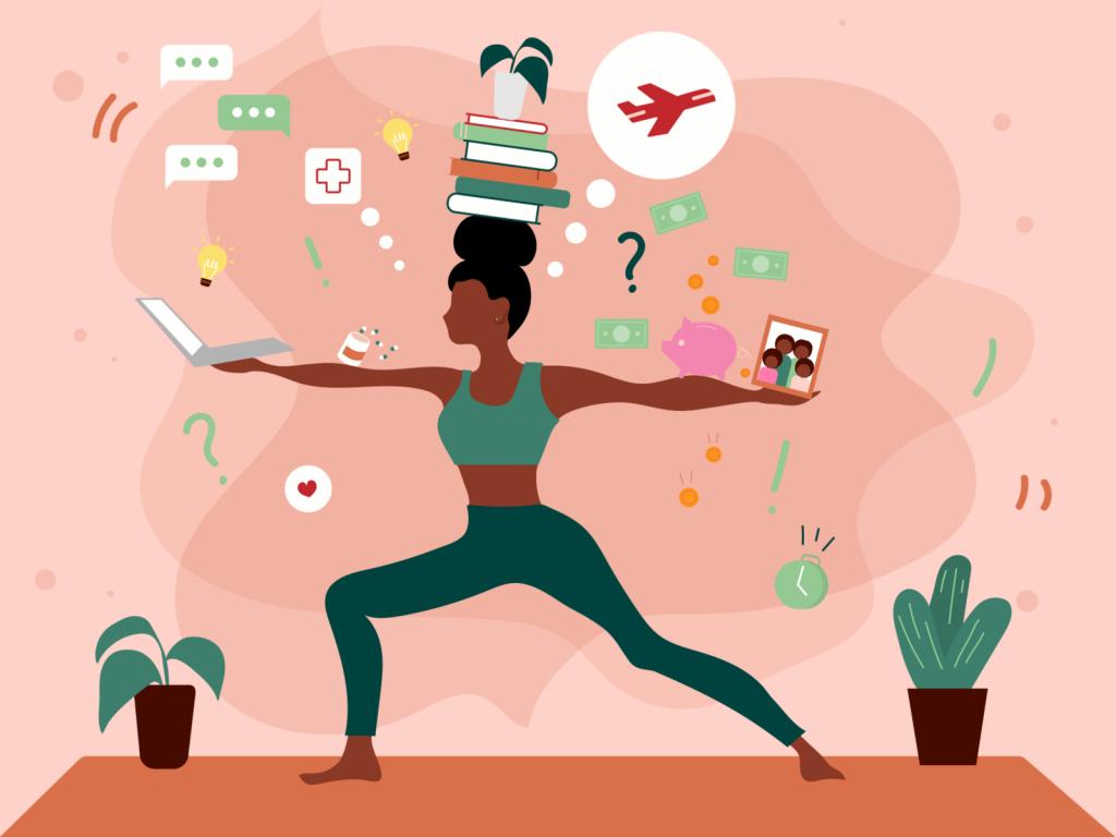 Ilustração de uma mulher tentando equilibrar vários pontos da sua vida em seus braços, como a família, o dinheiro e os estudos.