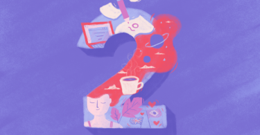 Ilustração do número 2 preenchido por desenhos de uma menina, um computador papeis e café.