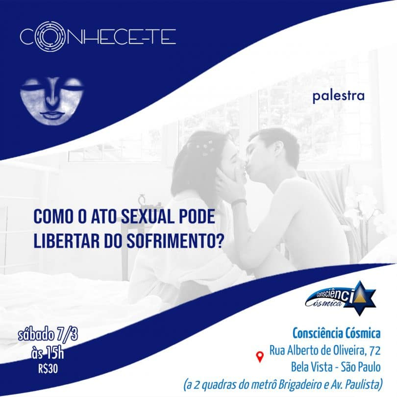 "Flyer palestra ""Como o ato sexual pode libertar do sofrimento?"""