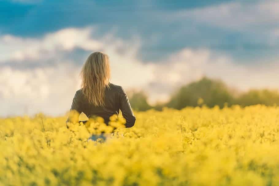 Campo de flores amarelas com uma mulher de jaqueta de couro, de costas para a câmera. Ela está sozinha e as flores estão na altura de sua cintura.