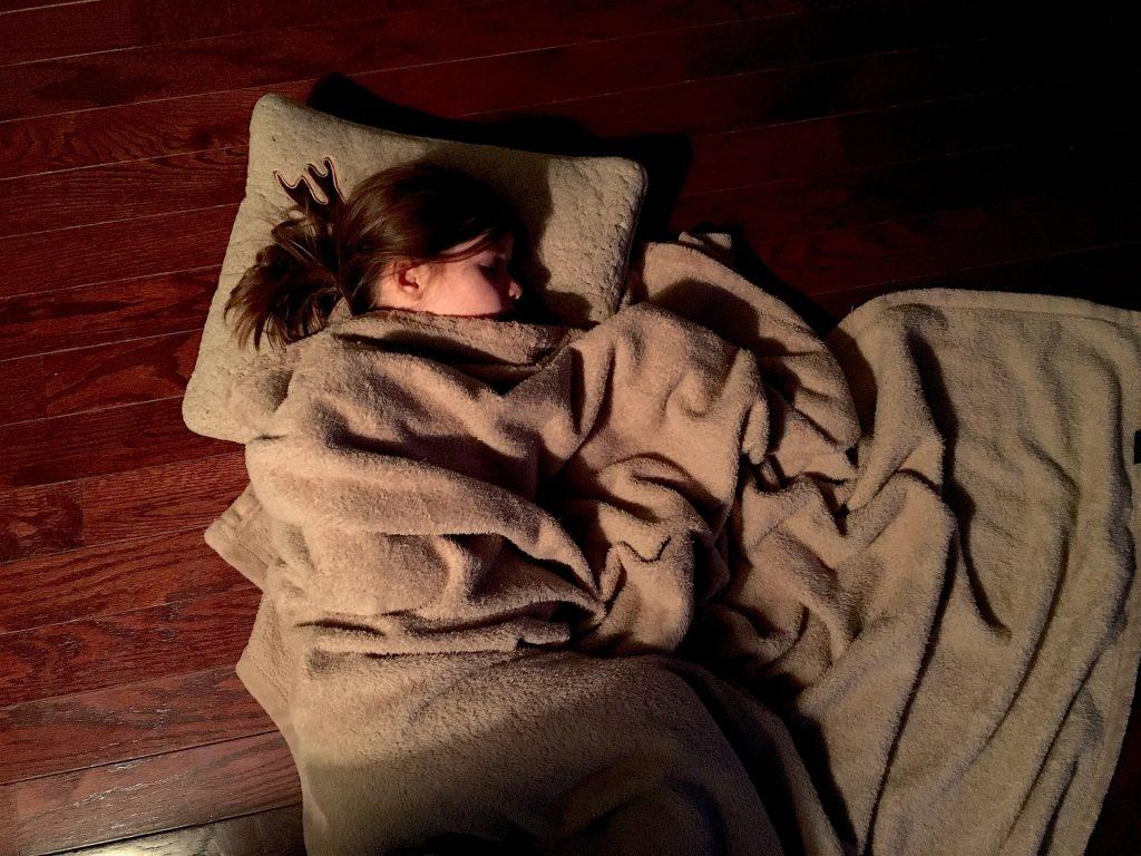 Menina dormindo deitada sobre um piso de madeira marrom escura. Ela está com a cabeça sobre uma almofada bege e coberta com uma manta de pelo bege.