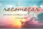 """Capa do livro """"Recomçar... Um bom começo de nova vida"""", com o título escrito sobre o nascer do sol."""