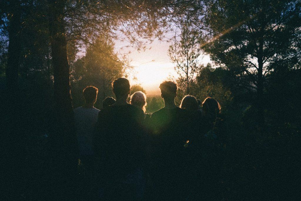 Grupo de jovens em uma floresta, observando o pôr do sol.