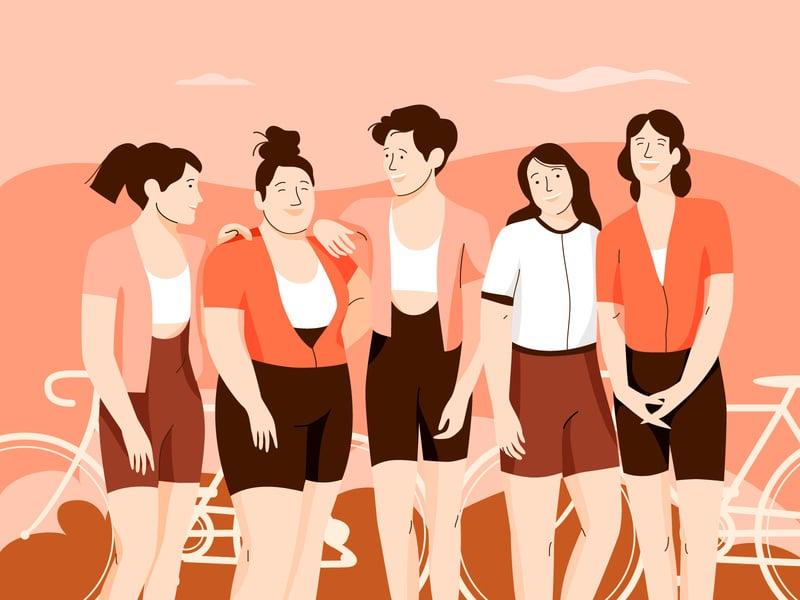 Ilustração de várias mulheres em pé, lado a lado, rindo e conversando.