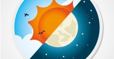 Imagem de um círculo dividido ao meio na diagonal. De um lado, o sol, nuvens e pássaros. Do outro lado, a lua e um céu estrelado.